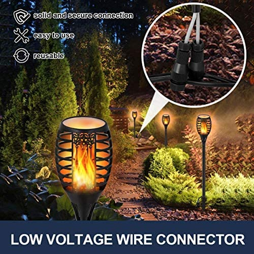 Torch Lights LUYE Wired Mini Flickering Flames Torches Lights Outdoor 12V 24V Low Voltage Torch Lighting with Fastlock Connector IP65 Waterproof Landscape Decoration Lighting for Yard Patio 8 Pack