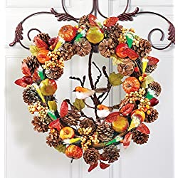 Lighted Fiber Optic Woodland Birds Pinecones Berries Apples Country Wall Hanging Door Wreath Autumn Decor Harvest Fall Autumn Harvest Thanksgiving Home Accent Decoration