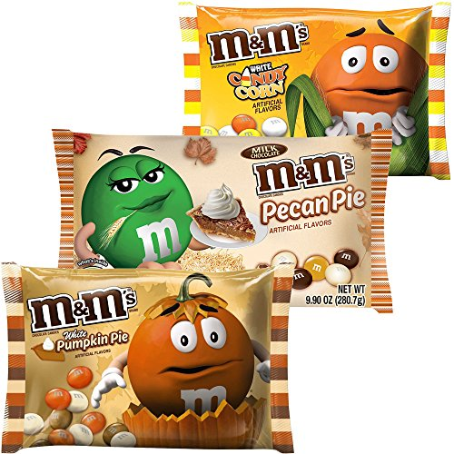 M&Ms Milk Chocolate Candies | White Pumpkin Pie, White Candy Corn & Pecan Pie Candy | Artificial Flavor 8.0 Oz Bag | Autumn, Fall & Winter Themed Candy. (3 Flavors) ()