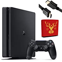 Sony Playstation 4 Console - 1TB Slim Edition Jet Black - PS4 with 1 DualShock 4 Wireless Controller - Family Holiday Gaming Bundle - iPuzzle Red Reindeer Dust Cover + 3 Feet HDMI Cable