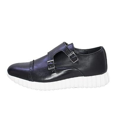 Sneakers Bassa Uomo Scarpe Running Doppia Fibbia Made in Italy Vera Pelle  Nappa Morbidissima Comfort ( dd2f74cf8f9