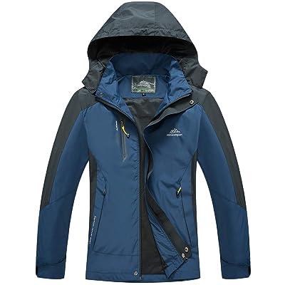 Men's Waterproof Jacket Outdoor Sports Windproof Rain Jacket (Deep Blue,M): Clothing