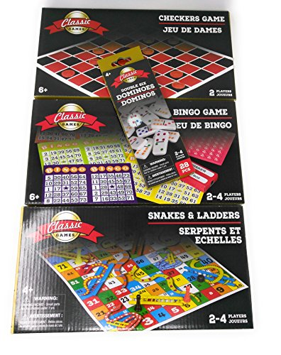 [Classic Games Checkers, Bingo & Dominoes Snakes and Ladders Lake Pool Beach Summer Fun Playtime Kids Adults (4 Piece Set)] (Homemade Kids Snake Costumes)