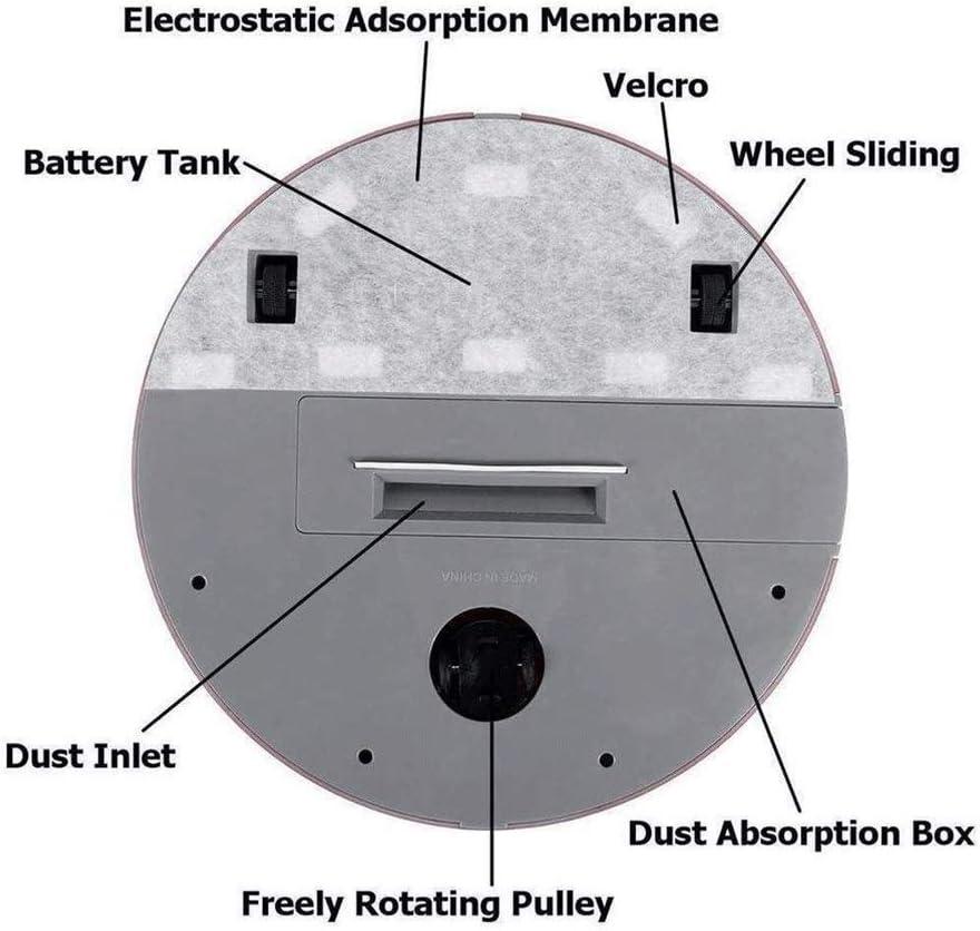 azz Robot Aspirapolvere, Power-Lifting, 2 Spazzole in Gomma Multi-Superficie, Adatto per Peli, Tecnologia Dirt Detect, Pulizia A 3 Fasi (Color : White) Pink