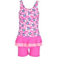 Karrack Girls Frilly Skirt One Piece Rash Guard Swimsuit Kid Water Sport Short Swimsuit UPF 50+ Sun Protection Bathing…