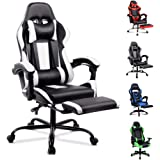 ALFORDSON Gaming Chair Racing Chair Executive Sport Office Chair with Footrest PU Leather Armrest Headrest Home Chair White