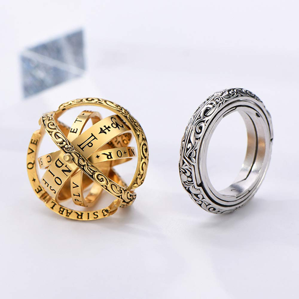 XIANGMENG Luxury 100/% 925 Silver Astronomical Sphere Ring That Folds Out to an Astronomical Ball Ring Luxury Hand-Carved Close is Love,Open is The World,Best Gift Choice All Size Provided