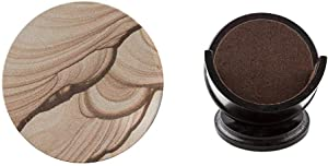 Thirstystone Brand - Desert Sand Coaster, Multicolor All Natural Sandstone - Durable Stone with Varying Patterns, Every Coaster is an Original & Pedestal Coaster Holder,Dark Walnut