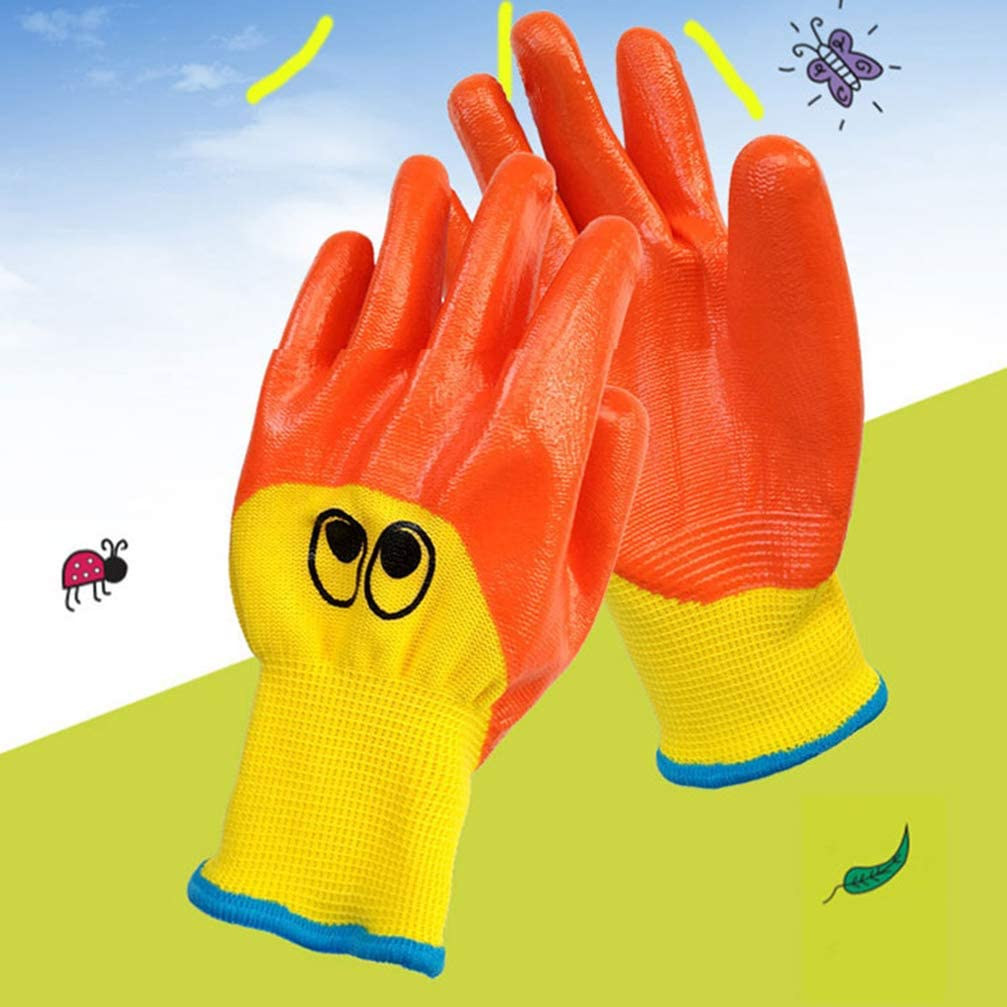 Yarnow 2 Paar Kinder Gartenhandschuhe Nitril Gartenhandschuhe Kinder Arbeitshandschuhe /Ölfeste Anti-Rutsch-Kunsthandschuhe zum Basteln Malerei Reinigung Kochen Wie Abgebildet