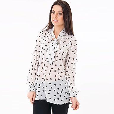 c5d44074 Women's Ladies Black & White Monochrome Pussybow Chiffon Polka Dot ...