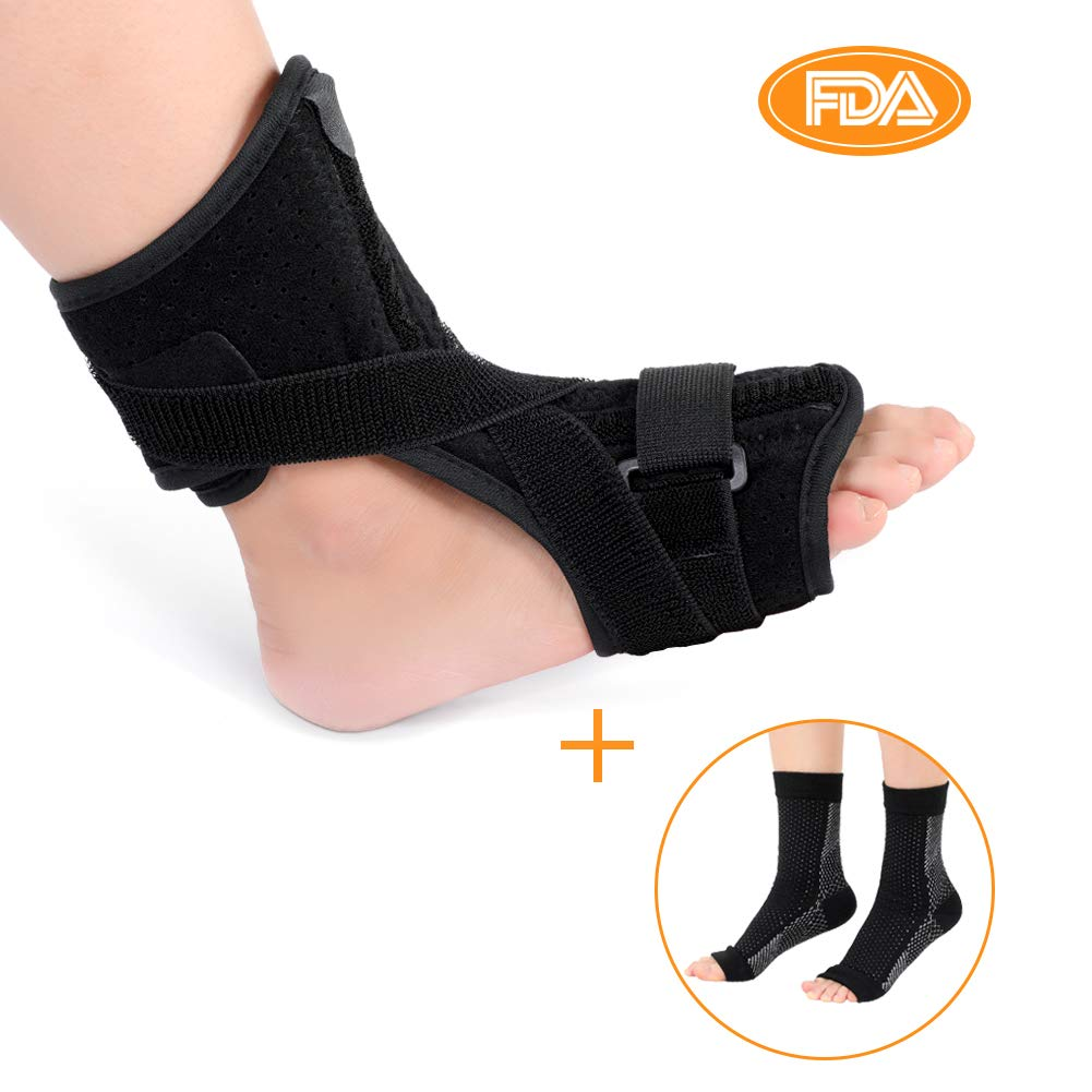 572589c349 Amazon.com: Plantar Fasciitis Night Splint Brace, Drop Foot Orthotic Brace  with 1 Pair Compression Foot Socks for Effective Relief from Tendon  Stretch, ...