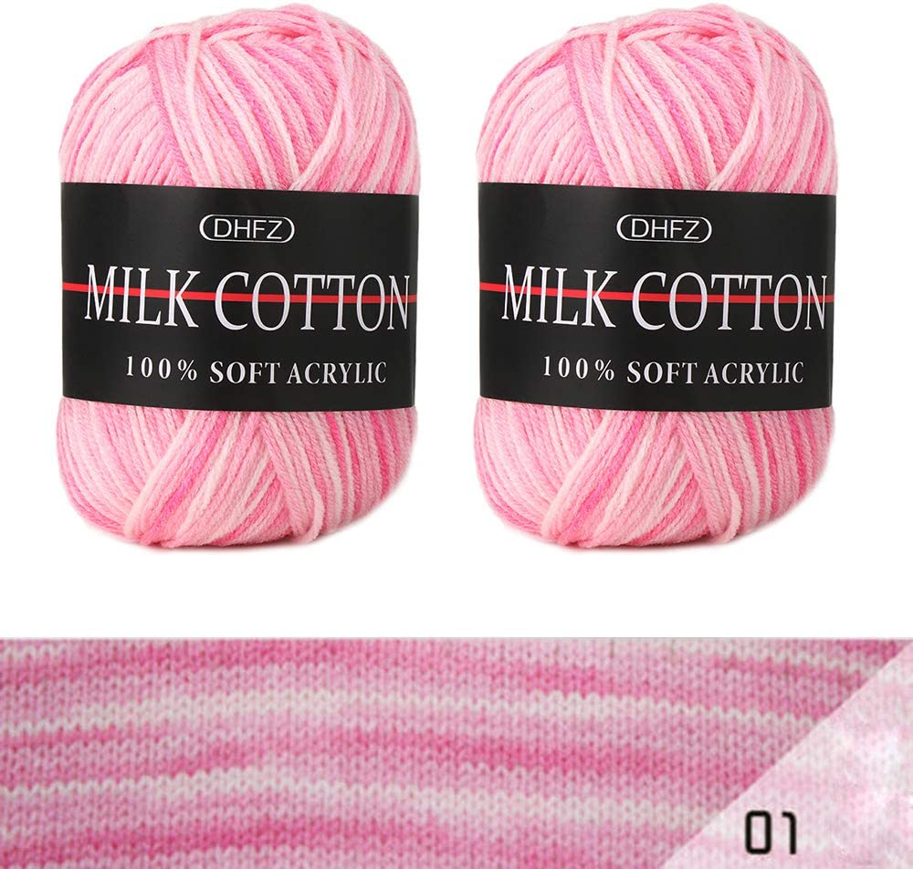Fil de laine /à tricoter en fibre de coton et fibre de lait pour coussin de canap/é /écharpe laine tiss/ée /à la main Weshcun 50 g Couleur 01 couleurs arc-en-ciel m/élang/ées