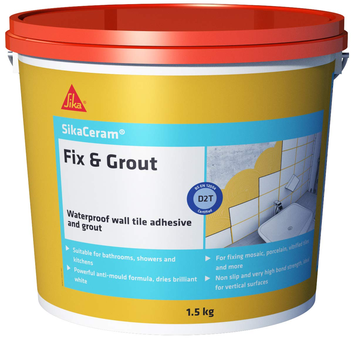 SikaCeram Fix & Grout - Waterproof wall tile adhesive grout - 750g - White Sika Everbuild SKCMFIX07