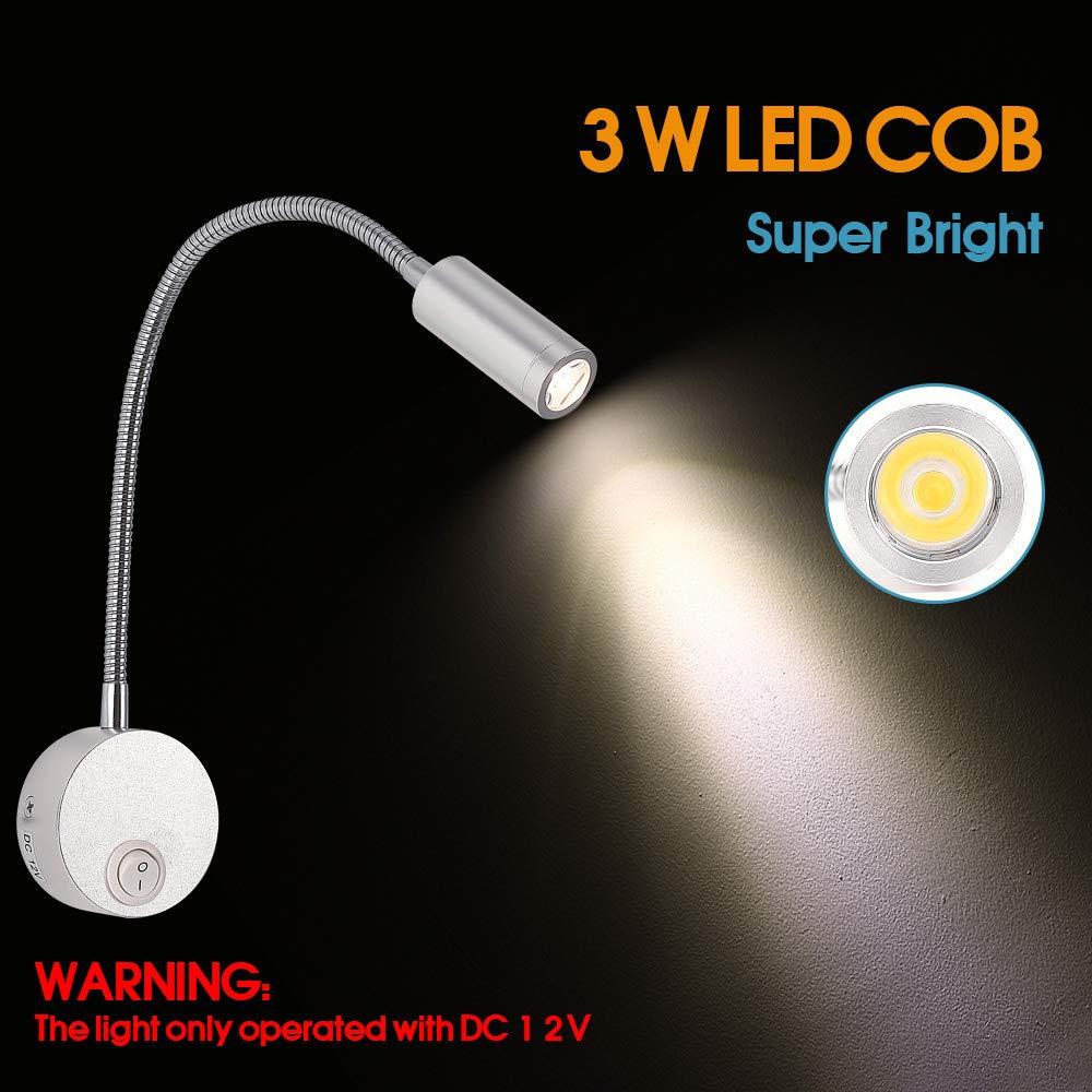 Wohnmobil-Innenbeleuchtung entworfen f/ür Auto Boot und Wohnmobil Modern silber Schwanenhals-LED-Beleuchtung Van WishHome DC 12 V Leselampe mit USB-Port