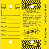 Self Laminating Self Protecting Versa Tags Key Tags With Rings (250 per box) (Yellow)