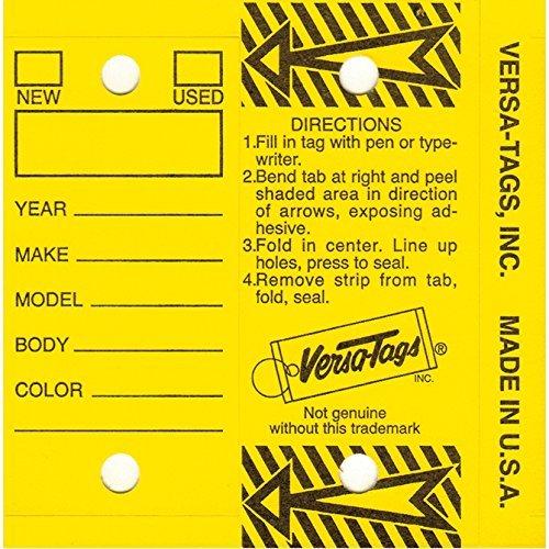 Self Laminating Self Protecting Versa Tags Key Tags with Rings (250 per Box) (Yellow) ()