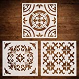 tile floor patterns CODOHI 3 Packs Wall Furniture Floor Stencils(12x12 Inch) Resuable Airbrush Painting Template for Tiles Fabric Glass- DIY Moroccan Patterns
