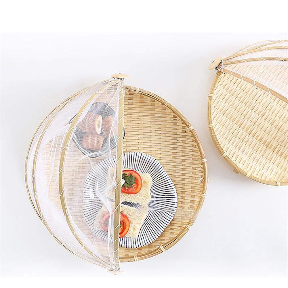 Ankamal Elec Picknickkorb S/M/L, handgefertigt, Bambus, Anti-Moskito-Abdeckung, atmungsaktiv, feuchtigkeitsdicht, rund, Aufbewahrungskorb Größe S