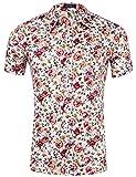 XI PENG Men's Tropical Short Sleeve Floral Print Beach Aloha Hawaiian Shirt (Bohemian White Red Flower, XX-Large)