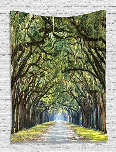fabric wall hangings nz tapestry forest way long leaves real tree photograph printed modern art home decoration hanging nature theme silky satin green brown lime for nurser