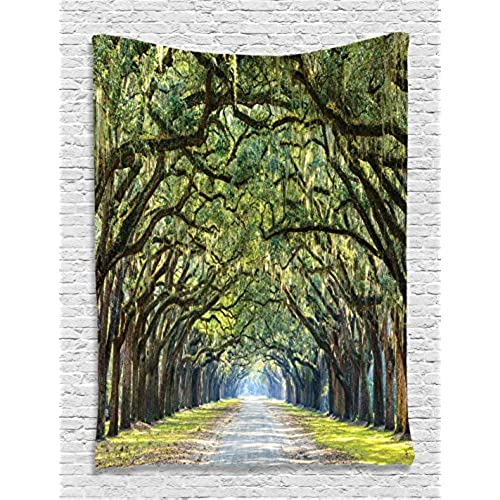 Bon Tapestry Forest Way Long Leaves Real Tree Photograph Printed Modern Art  Home Wall Decoration Wall Hanging Nature Theme Silky Satin Fabric, Green  Brown Lime
