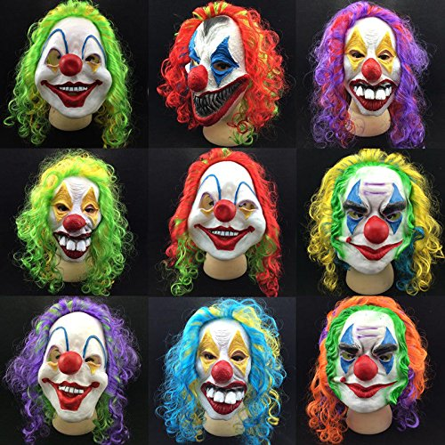 MAZIMARK--Funny Clown Face Horror Scary Mask Masked Ball Halloween Fancy Dress Costume -