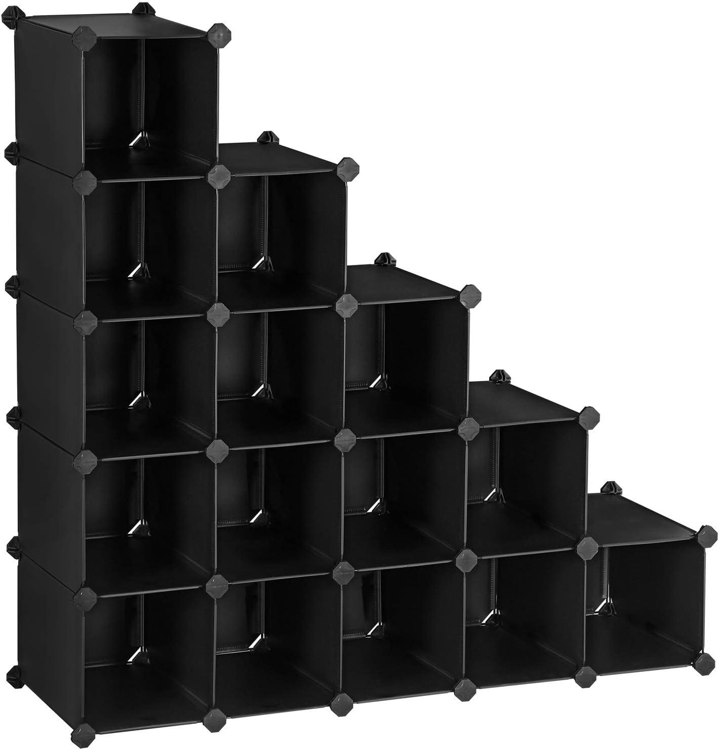 SONGMICS Zapatero con Enclavamiento, Almacenamiento Rectangular, Estantería Modular para Bricolaje de 12 Ranuras, 40 x 30 x 17 cm por cada ranura, Armario de Alambre Metálico, Negro LPC44HV1