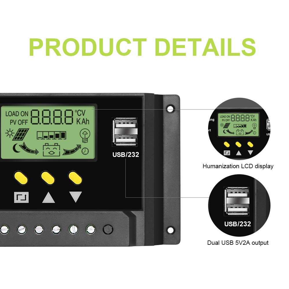 ALLPOWERS 30A Solar Charger Controller 12V/24V Solar Panel Battery Intelligent Regulator with Dual USB Ports, LCD Display by ALLPOWERS (Image #4)