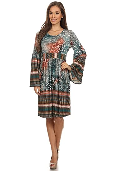 ac602736363 (Plus Size) Printed Scoop Neck 3 4 Length Sleeve A-Line Dress (MADE IN  U.S.A)