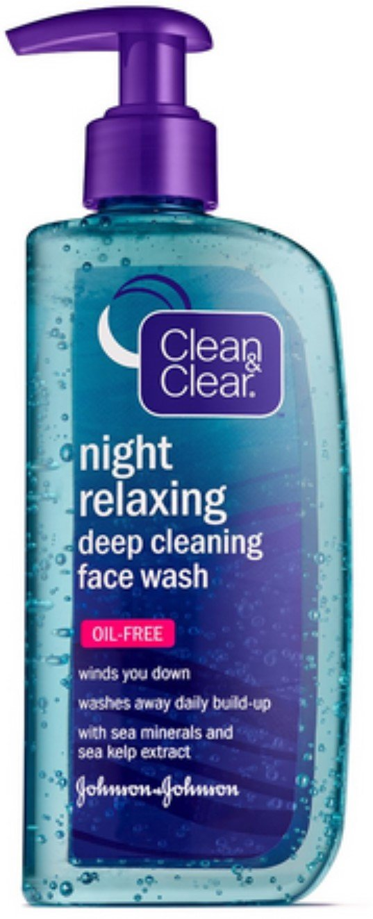 Clean & Clear Night Relaxing Deep Cleaning Face Wash Oil Free, 8 oz (Pack of 2)