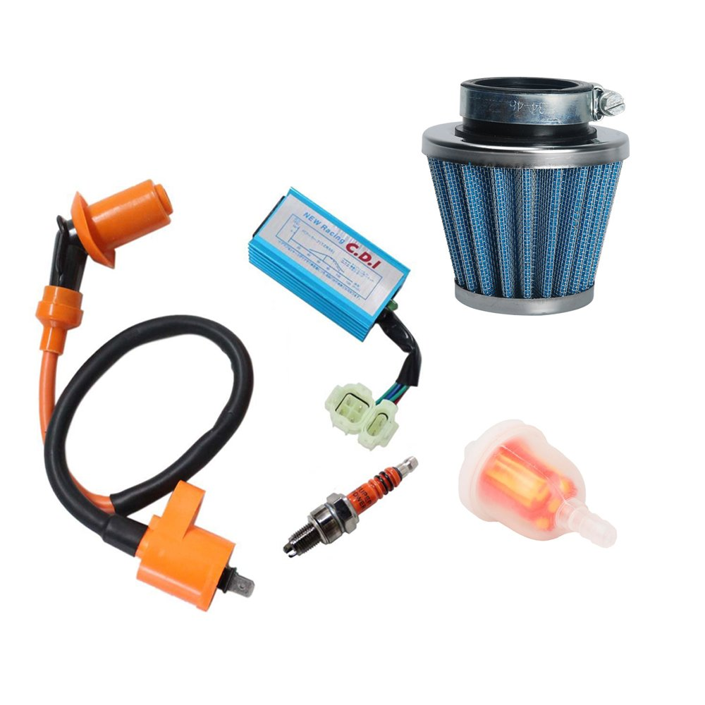 OxoxO Performance Racking Round Ac Fired 6 Pins Cdi Ignition Coil 3 Elecrode Spark Plug with Gas Fuel Filter & 39mm Air Filter for Chinese 50cc 125cc 150cc Gy6 Moped Scooter Go Kart