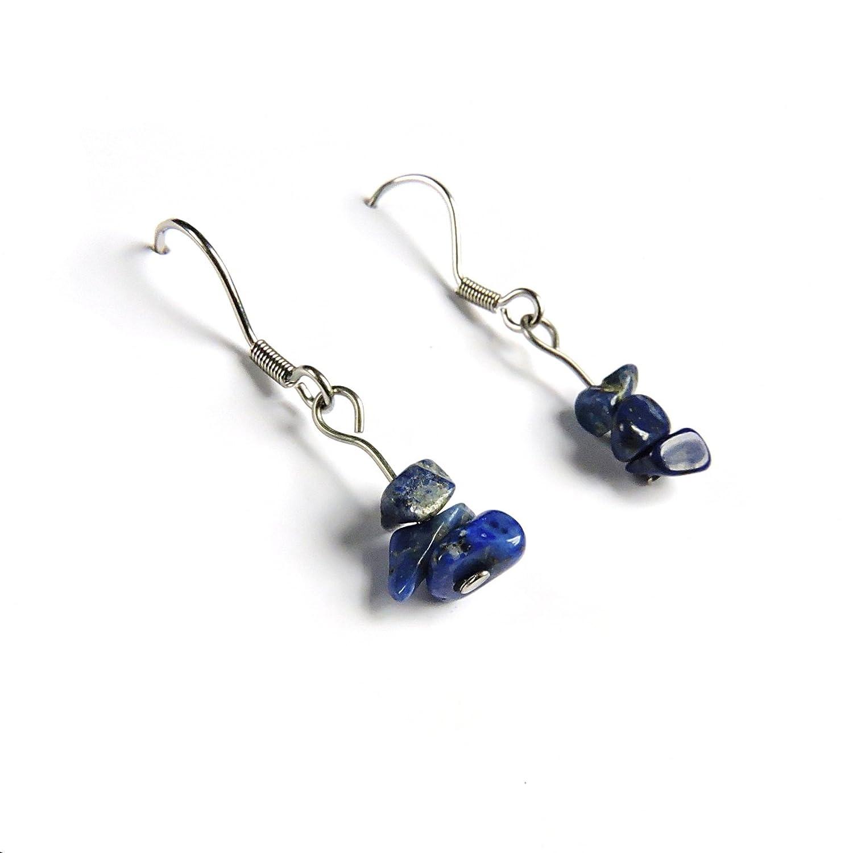 Joyas barrocas es mano, lapislázuli lapislázuli barroco hecho a mano pendientes de joyería oído bucle gema piedra preciosa piedra fina