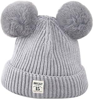 ZHOUBA Baby Boys Girls Bobble Knit Beanie Hat Plush Ball Ears Toddlers Winter Warm Double Pompom Cap (Beige)
