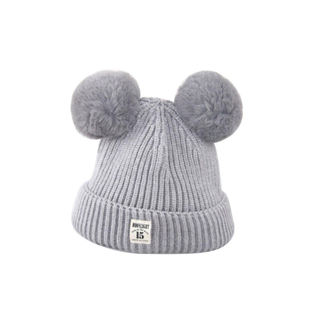 a3e96e951f5 ZHOUBA Baby Boys Girls Bobble Knit Beanie Hat Plush Ball Ears Toddlers  Winter Warm Double Pompom Cap (Grey)  Amazon.co.uk  Baby