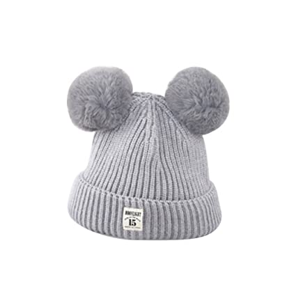 b4a7734854e ZHOUBA Baby Boys Girls Bobble Knit Beanie Hat Plush Ball Ears Toddlers  Winter Warm Double Pompom Cap (Grey)  Amazon.co.uk  Baby