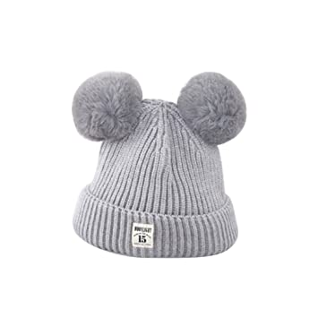 ZHOUBA Baby Boys Girls Bobble Knit Beanie Hat Plush Ball Ears Toddlers  Winter Warm Double Pompom 03b9cfa652a