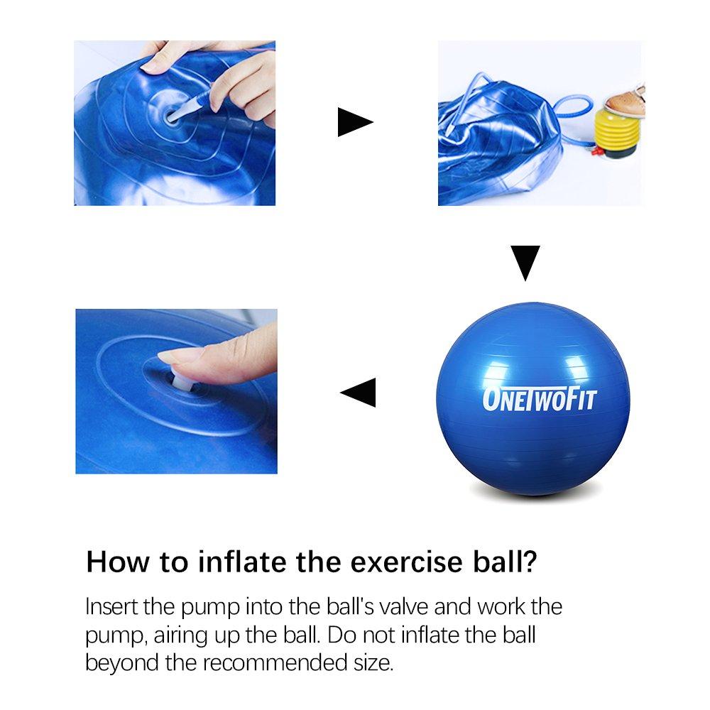 OneTwoFit 55 cm Extra Dicker Yoga Ball Anti-Rutsch /& Aufplatz-Sicher /Übungsbalance Ball mit Fu/ßpumpe f/ür Pilates Bauchmuskeltraining Fitness Farbe: Blau OT089
