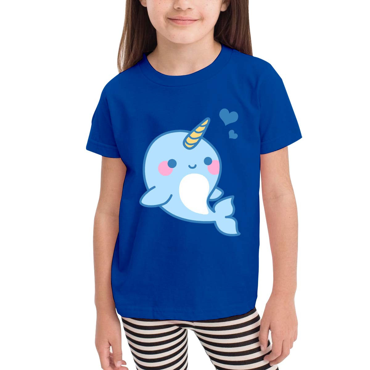 SKYAKLJA Narwhal Childrens Cotton Blue Short Sleeve T-Shirt for Girl