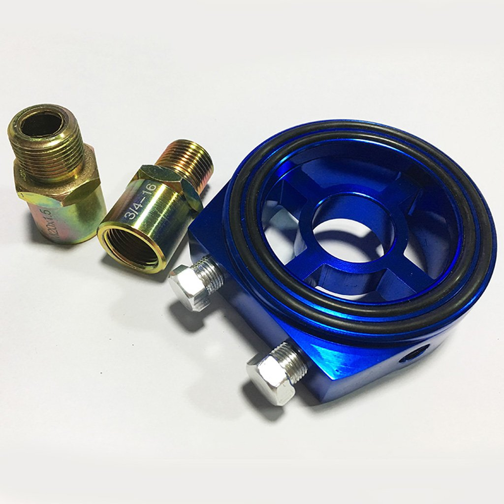 Azul Gazechimp 1x Adaptador de Filtro de Aceite con Guarnicione Enchufe Accesorios Autom/óviles Compatibilidad Universal Duradero Impermeable Prueba de Polvo