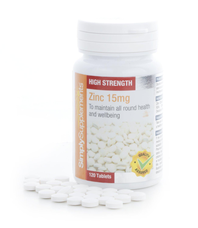 Zinc 15mg - 120 comprimidos - 4 meses de suministro - Mineral esencial - SimplySupplements: Amazon.es: Salud y cuidado personal