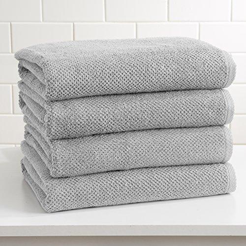 4-Pack 100% Cotton, Ultra-Absorbent Popcorn Bath Towels. 6 Elegant Solid Colors. Popcorn Weave. Acacia Collection. (Bath 4pk, Light Grey)