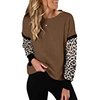 Topstype Womens Long Sleeve Tops Round Neck Sweatshirts Casual Leopard Shirts