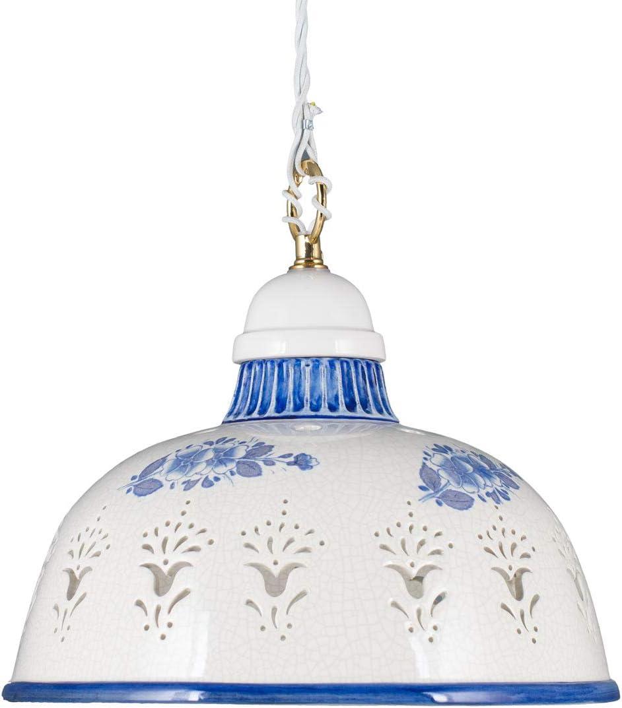 Premium E27 Pendelleuchte Deckenleuchte Keramik Baldachin Porzellan Textil weiß