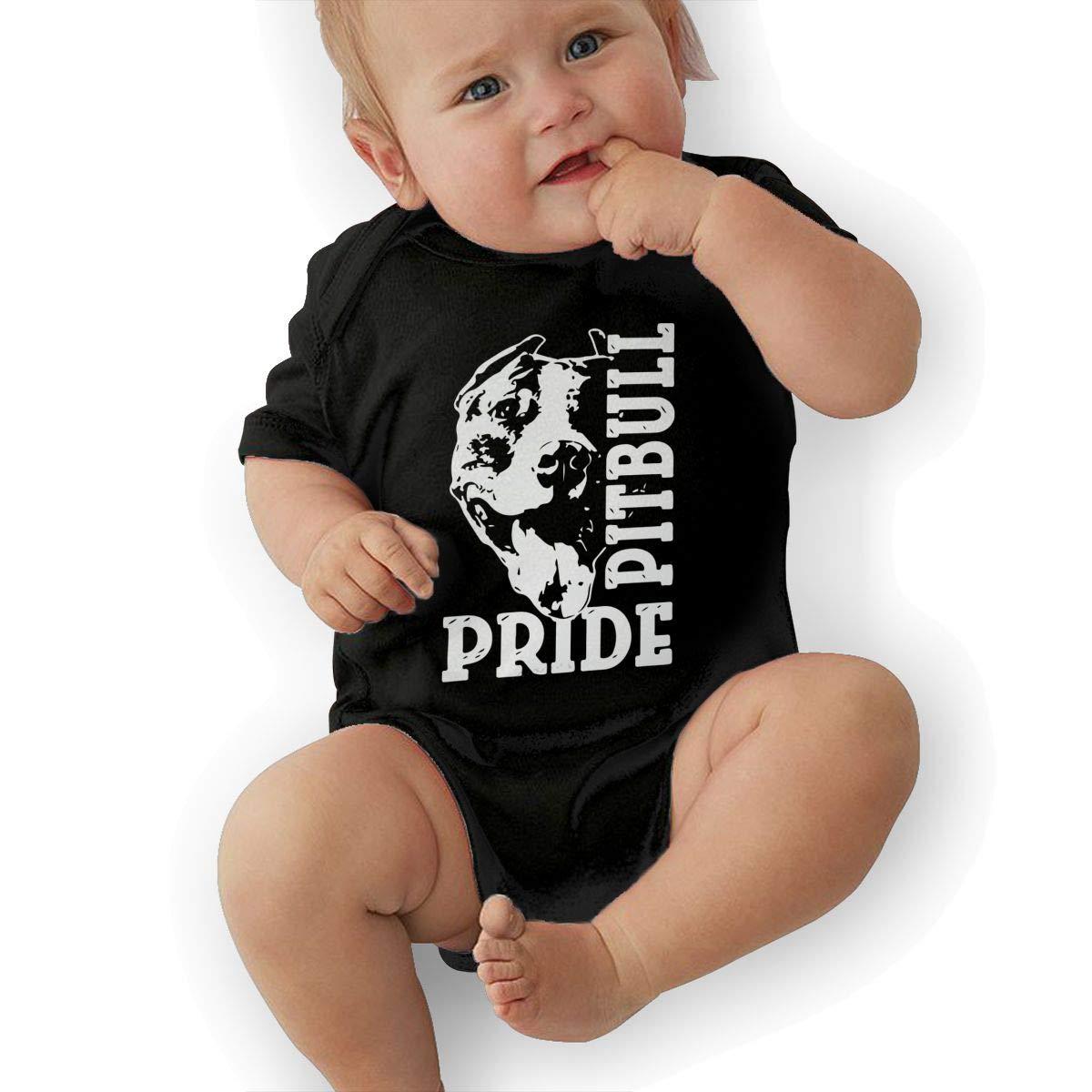 U88oi-8 Short Sleeve Cotton Bodysuit for Unisex Baby Soft Pitbull Pride Playsuit