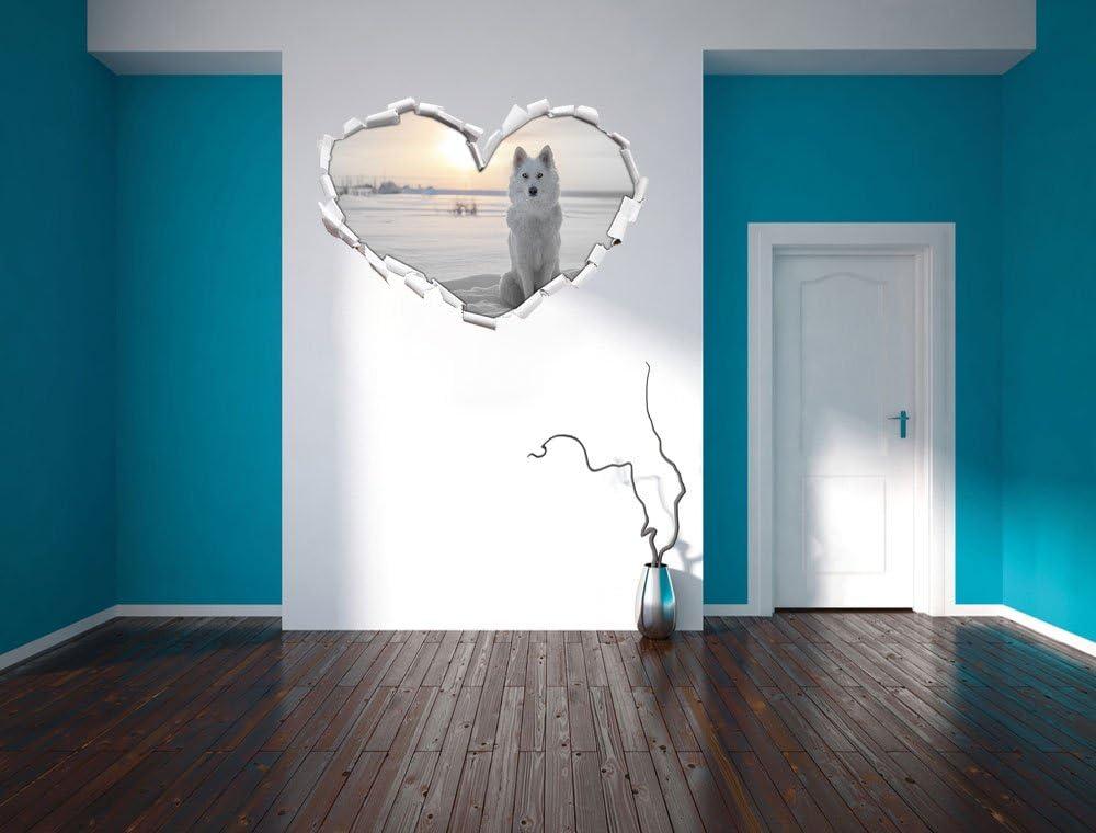 d/écoration Murale Mur ou Format Vignette de la Porte: 62x43,5cm Sticker Mural Stickers muraux Stil.Zeit Loup Blanc dans la Neige B /& W d/étails/Coeur en Apparence 3D