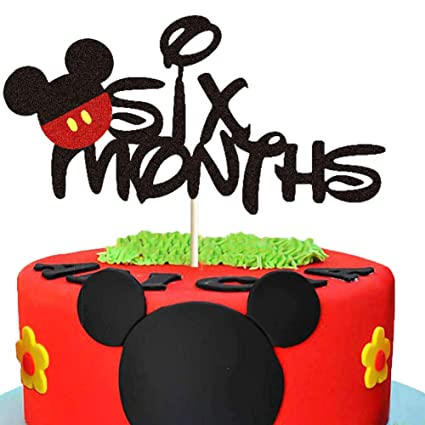 Fantastic Mickey Six Months Cake Topper Mickey Mouse 1 2 Year Birthday Cake Birthday Cards Printable Trancafe Filternl