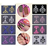 Warm Girl 8sheet 3D Flower Nail Art Stickers DIY Nail Decoration Tools(Glod Sliver Black White Red Pink Rosered Blue)