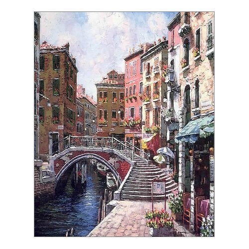 (Beautiful Modern Art Watercolor Painting Rich Retro town of Venice Italy Canvas Print Wall Art 16