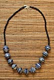 Paper Bead Chunky Asali Necklace - Blue - Fair Trade BeadforLife Jewelry from Africa