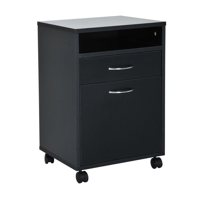HomCom 24'' Rolling End Table Mobile Printer Cart Nightstand Organizer - Black by HOMCOM